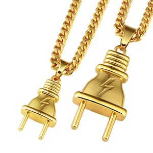 Men Hip-hop Gold Plated Plug Pendant Lightning Necklace 75cm Long Cuban Link Chain