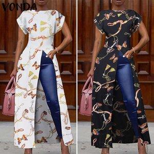 VONDA Summer Blouses 2020 Women Vintage Printed Split Hem Shirts Loose Retro Tops Plus Size Party Blusas 5XL Beach Tunics