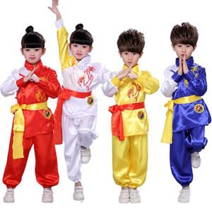 Satin dragon broderie Tang costume Hanfu pour enfants Garçons Filles exercice Kungfu Wushu Chinese Dance Uniforme Vêtements Performance Set