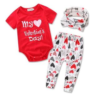 Explosion Children's Wear Infant Set New Girl Cute Letter Love Print Haber Set 3 Piece Casual Cotton Set
