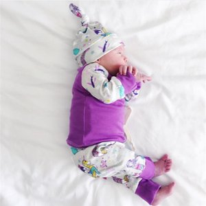 Baby Girls Clothing Set Autumn Infant Newborn Clothes Cartoon Mermaid 3Pcs Long sleeved T-shirt+Pants+Hat Toddler Outfits