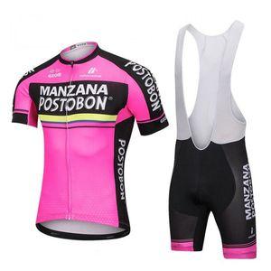 2019 Pro Team Manzana Postobon Maglia da ciclismo Set Uomo Bicicletta Uniforme MTB Abiti da corsa Ropa Ciclismo Hombre Estate Abbigliamento bici Y072501