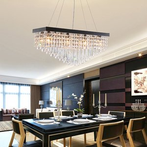 تصميم جديد مستطيل حديث L 80cm W 25cm crystal chandelier light led pendant lamps with black plate for batching room island
