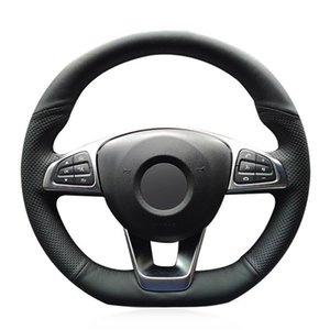 Custom Hand-Stitch Top Leather Car Steering Wheel Cover For Benz CLA220 CLS400