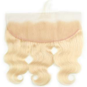 Mia regina capelli umani hd trasparente svizzero 613 colore biondo 13 * 4 del merletto dell'onda corpo di chiusura frontale con i capelli del bambino sembra molto natrual