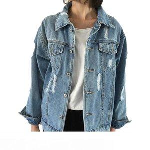 Jeans Jacket Women Casacos Feminino Slim Ripped Holes Denim Jacket Femme Elegant Vintage Bomber Jacket 2018 Basic Coats