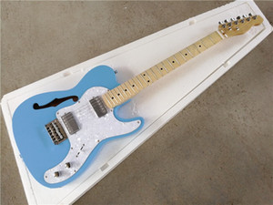 Semi-Hollow body Blue Electric Guitar with White Pearl Pickguard,Chrome Hardware,customized according yourself.