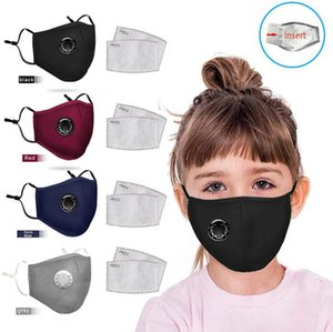 Kids Respirator Valve Mask 4 Colors PM2.5 Activated Carbon Washable Kids Mouth Cover Dustproof Reusable Masks OOA8071
