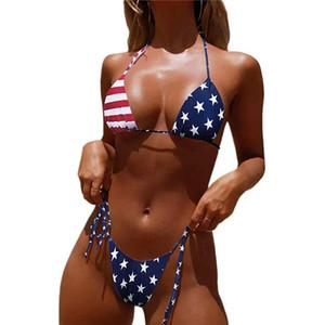 Micro bikini Extreme Mini 2 Piezas de la serpiente rayada de la bandera EE.UU. Imprimir Tankini Top G tanga traje de baño de las mujeres traje de baño de la playa