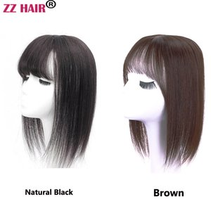 Free Shipping 7A 100% Brazilian remy human Hair Top Closure Bang Hair Replacement Clips in Hair Extension