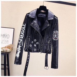 Mujeres de la manera del viento punky de la solapa de la chaqueta de cuero de la PU de las mujeres de impresión de la motocicleta de la chaqueta abrigos de diseño Escudo remache de las mujeres a corto