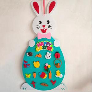 Kid Pascua juego niño colgante fieltro conejo de Educación de la Primera Juguetes 3D animal de DIY velcro Manos Juguetes recién nacido ejercicio del cerebro del bebé recuerdos WY521Q