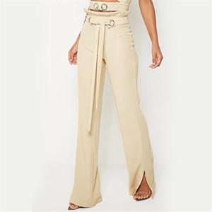 Frauen mit hoher Taille beiläufige Kordelzug Wide Leg-Hosen-beiläufige Bottom Slit Glocke Verband schnüren sich oben Waistband Corduroy Schlaghose
