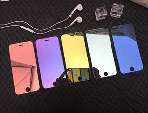 Miroir teinté en verre trempé pour IPhone 11 / 11Pro / 11 ProMax X / X XR XSMax 7P / 8P Anti-Scrath écran avant Protector Film couleur 5 couleurs