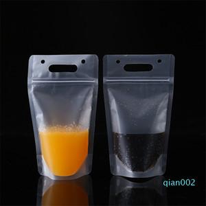 100pcs / lot claro bebida bolsas sacos plásticos Beber Bag 450ml Transparente Auto-lacrado Juice Plastic bebidas Leite Bag