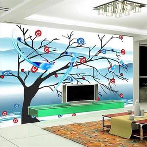 Нестандартный размер 3d фото обои гостиной росписи Love Tree Birds art 3d картина диван ТВ фон обои нетканые стикер стены