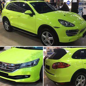 Embalaje de la carrocería cubierta de alto brillo de limón verde película del vinilo de la hoja del abrigo del coche etiqueta engomada DIY de Styling Motors carro del coche
