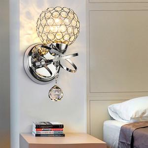 Простой в европейском стиле творческой гостиной настенный светильник междурядья спальне прикроватные LED кристалл лампы теплый романтический кристалл настенный светильник R48