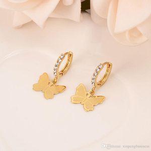 Женщины падение мотаться серьги 22K 23K 24K Тайский бат моды FINE золото GF CZ Подвески ювелирные изделия бабочки Vintage