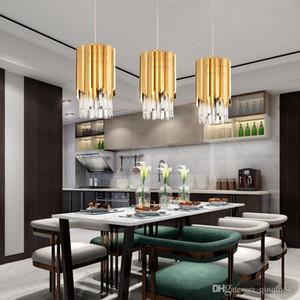 Lustre moderne en cristal doré rond pour la cuisine salle à manger chambre lumière de chevet luxe k9 led lampes suspendues