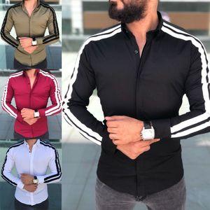 2019 Yeni Bahar Sonbahar Özellikleri Gömlek Erkekler Rahat Çizgili Gömlek Uzun Kollu Lüks Rahat Ofis Slim Fit Erkek Gömlekler