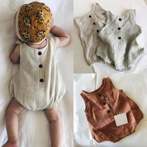 Botón ropa de verano recién nacido del muchacho del bebé ropa de algodón sin mangas floja suave Romper Body Trajes Set