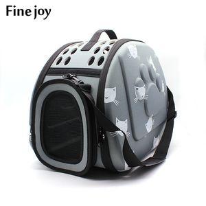 Fine Joy Pet Dog Cat Carrier Breathable Outdoor Shoulder Bags Travel Bag Folding Carrier Cage Collapsible Crate Tote Handbag Y19061901