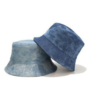 Männer Frauen Baumwollmischung Erwachsene Bucket Hat Sommer Angeln Fisher Beach Festival Sun Cap Denim Blue Cap Mode-Accessoires