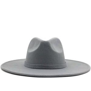 Geniş Brim Fedora Hat İçin Kadınlar Katı Renk Yün Şapka İçin Erkekler Sonbahar Kış Panama Gamble gri Caz Cap Keçe