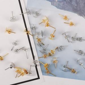 100pcs / lot 4/6 / 8mm Sliver / goldene überzogene runde flache Auflage Ohrstecker flache Unter Pins Einstellungen DIY Earing Schmuck machen