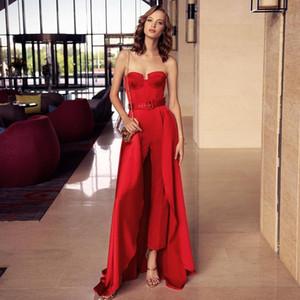 Modern Red Jumpsuit Evening Party Formal Gowns with Detachable Train Sweetheart Prom Dresses Long Pant Suit Vestidos De Festa