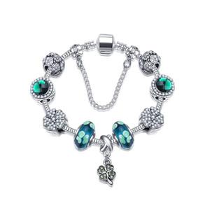 18-21cm Neue Vier-Blatt Klee Armbänder Charme vier Blatt Anhänger Glück grüne Kristall-Perlen 925 silbernes Armband DIY Schmuck