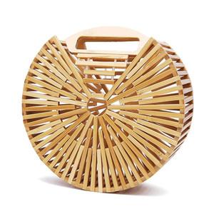 여름 대나무 핸드백 여성 클러치 가방 중공 아웃 비치 가방 패션 고품질 짠 나무 지갑과 핸드백 대나무 지갑