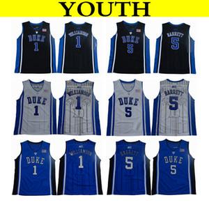 2019 Enfants Duke Blue Devils College Basketball Jerseys Jeune Noir Bleu 1 Zion Williamson 2 Cam Rougeâtre 5 RJ Barrett Accueil Maillots Cousus