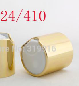 Disque d'or de haute qualité pommeaux avec col en aluminium 24/410, bouchon de shampooing aluminium, bouchon bouteille d'eau en plastique push pull
