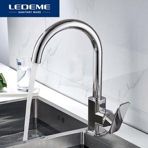 LEDEME mutfak musluk 360 derece rotasyon kural Şekil kavisli çıkış borusu dokunun Havzası Sıhhi Tesisat donanım pirinç lavabo musluk L4033-2 T200423