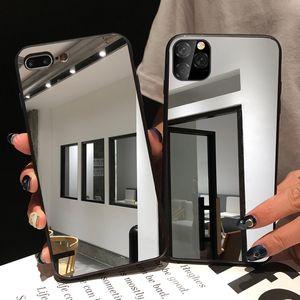 Черный бампер зеркальное покрытие силиконовый чехол TPU для iphone 11 Pro MAX 6 8 Plus крышка мягкая задняя крышка Coque Caso чехлы для телефонов