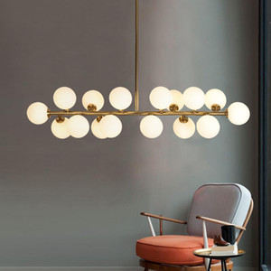 Modern Golden Lamp Led Chandeliers Light Glass Globe Led Hanging Lamp Fixtures Indoor Lighting Lustre luminaria Suspend Lamp