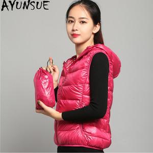 AYUNSUE Women's Vest Ultra Light Down Jacket Women Hooded Autumn Winter Sleeveless Waistcoat Chalecos Para Mujer 2020 KJ4784