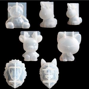 Transparent Einhorn Silikon Epoxyharzformen Geometry Bär Kaninchen-Form-Tieraromatherapie Kerzenherstellung Formular Dekoration