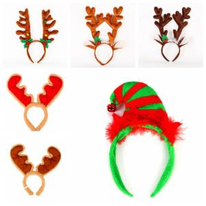 Ciervos de la Navidad arco vendas de felpa de dibujos animados Elk Headwear franela de Navidad accesorios para el cabello asta astas hairstick Decoración LJJA3178