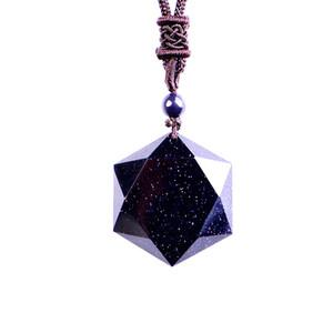 Pierre Naturelle Sable Bleu Six Étoiles Pendentif Colliers Pour Femmes Et Hommes Cubique Chandail Hexagramme Collier