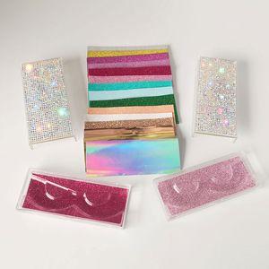Toptan elmas sahte kirpik ambalaj kutusu sahte 3d vizon kirpik kutuları akrilik çanta boş ambalaj kirpiklere CILS faux