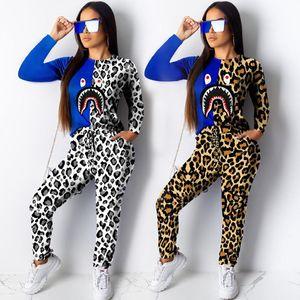 Leopard Shark печати Футболка Tracksuit Женщины с длинным рукавом Футболка Блуза + брюки Брюки 2 Piece Set Лоскутная Дизайн Outfit костюм S-2XL