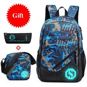 Waterproof Oxford Fabric Boys School Bags Backpack For Teenagers Pencil Case Blue Book Bag Boy One Shoulder Schoolbag Mochila J190619