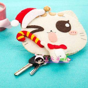 4 Designs Lovely Cat Keys Holder Felt DIY Keys Ornament Sewing Needle Craft Felt DIY Package Simple Handmade Exercise For Kids