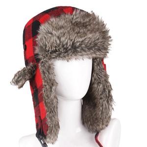 Unisexe hiver Chapka Lattice Plaid Imprimer peluche Doublé Ushanka Earflap Cap Hommes Femmes Trapper Chapeaux chaud
