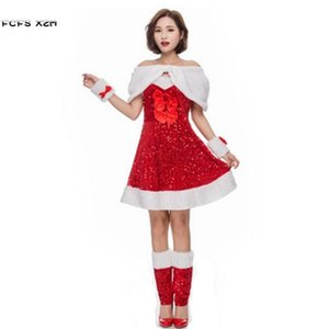 Deluex Red Sequins Halloween Santa Claus Costumes for Women Female Christmas Party Cosplays Carnival Masquerade stage show dress