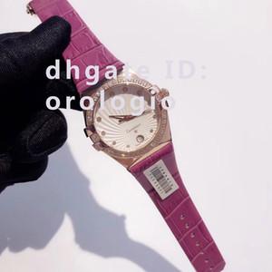 고급 여성 다이아몬드 femmes을 부어 35mm 패션 스테인레스 스틸 케이스 가죽 스트랩 손목 시계는 럭셔리 드 MONTRES 방수 5ATM 시계