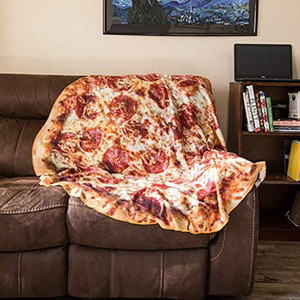 Blanket Comfort 3D Creations Pizza Wrap Blanket Perfectly Round Hamburger Throw Funny Plush Bedspreads wholesale Drop Ship